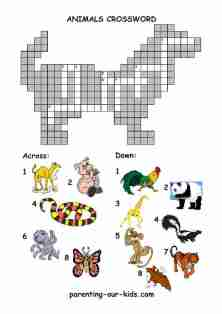 Animal Crossword Puzzles On Kids Free Printable Worksheets