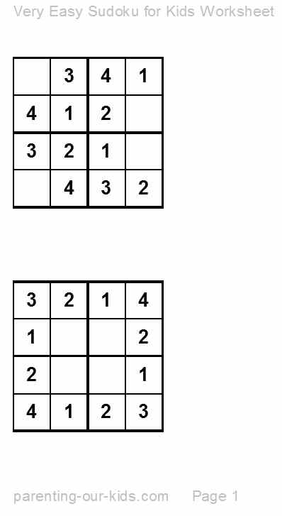 Very Easy Sudoku Printable Very Easy Sudoku
