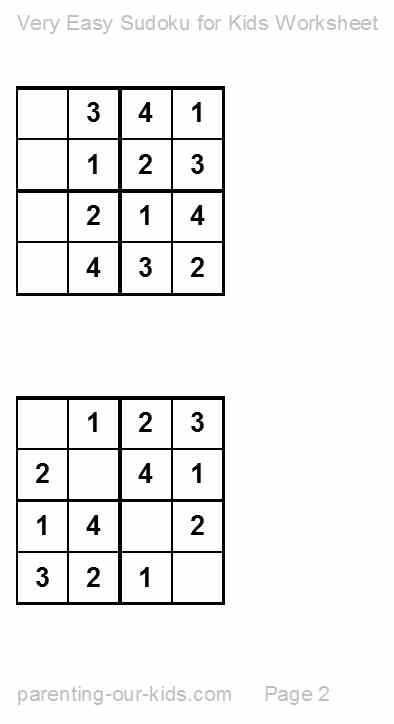 Sudoku For Kids Printable Sudoku Puzzles An Easy Start For