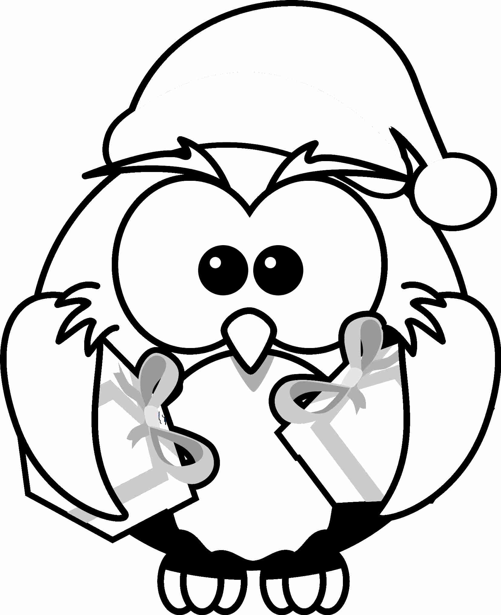 cat coloring page christmas penguin